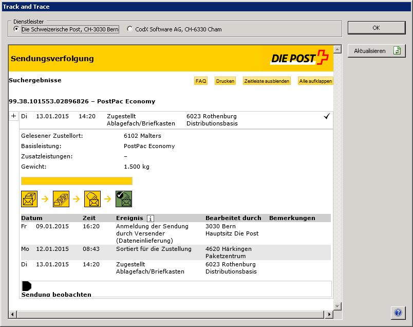 Codx software ag codx postoffice poststellenmanagement kep dienstleister die post modul - Post office track trace ...